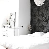 My Scandinavian Home - bedrooms - black and white bedroom, bedroom accent wall, wallpaper accent wall, accent wall, black wallpaper, platform bed, white bedding, white capiz chandelier, capiz chandelier, white dresser, bone inlaid mirror, bone inlay mirror, black and white bone inlay mirror,