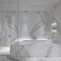 Todhunter Earle Interiors - bathrooms - statuario marble, statuario marble counters, statuario marble shower, statuario marble shower surround, statuario marble backsplash, statuario marble tile backsplash, statuario marble bathtub, statuario marble tiles, statuario marble floor, statuario marble tile floor, glass walk in shower, walk in shower ideas,