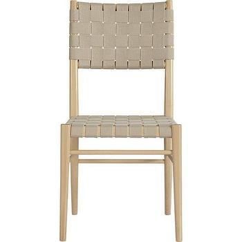 Seating - Oslo Natural Side Chair | Crate and Barrel - webbed side chair, modern webbed side chair, cotton webbed beechwood side chair,