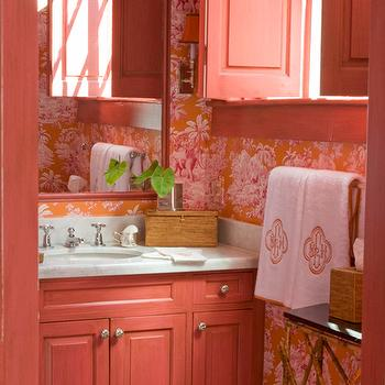 Pink washstand eclectic bathroom mmr interiors for Pink and orange bathroom ideas