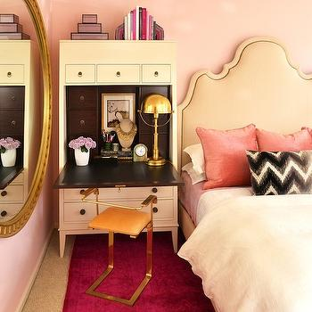 Dalliance Design - bedrooms - pink wall, hot pink rug, overdyed rug, hot pink overdyed rug, pink bedroom, pink walls, pink bedroom walls, tan headboard, pink pillows, pink velvet pillows, lumbar pillow, chevron pillow, black and white lumbar pillow, black and white chevron pillow, pink bedroom ideas, pink bedroom design,