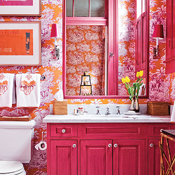 Mmr interiors bathrooms monogrammed hand towels toile for Pink and orange bathroom ideas