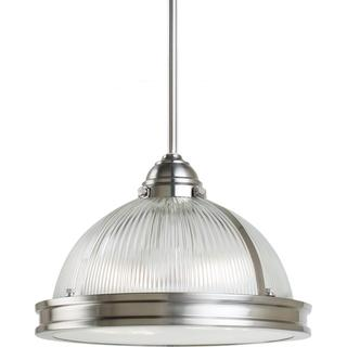 Lighting - Pratt Street Prismatic 2-light Brushed Nickel Pendant | Overstock.com - prismatic brushed nickel pendant, brushed nickel prismatic glass pendant, glass and brushed nickel industrial pendant,
