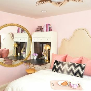 Dalliance Design - bedrooms - pink wall, hot pink rug, overdyed rug, hot pink overdyed rug, pink bedroom, pink walls, pink bedroom walls, tan headboard, pink pillows, pink velvet pillows, lumbar pillow, chevron pillow, black and white lumbar pillow, black and white chevron pillow, pink bedroom ideas, pink bedroom design, sunburst flush mount, gold flushmount light, gold sunburst flushmount,