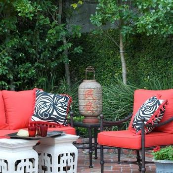 MMR Interiors - decks/patios - watermelon pink, watermelon pink cushions, outdoor furniture, iron chairs, outdoor chairs, white garden stools, herringbone brick pavers,