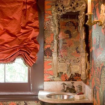 MMR Interiors - bathrooms - powder room, chinoiserie powder room, orange and brown powder room, orange and brown wallpaper, chinoiserie wallpaper, orange and brown chinoiserie wallpaper, orange silk roman shade, orange roman shade, brown moldings, window moldings, painted window moldings, brown window moldings, corner mirror, ornate mirror, corner ornate mirror, corner vanity, corner bathroom vanity, corner washstand, corner cabinet, corner bathroom cabinet, chinoiserie bathroom vanity, chinoiserie washstand,