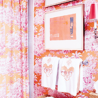 MMR Interiors - bathrooms - monogrammed hand towels, toile wallpaper, pink and orange toile, pink and orange toile wallpaper, shower curtain, girls shower curtain, kids shower curtain, girls bathroom shower curtain, toile shower curtain, girls bathroom, girls bathroom ideas, kids bathroom,