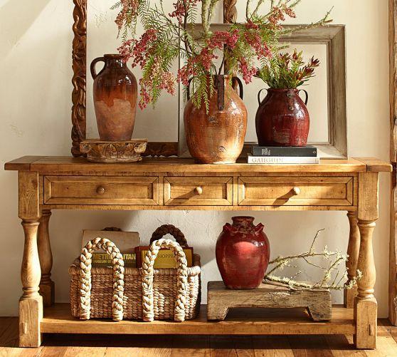 Cortona console table pottery barn for Pottery barn foyer ideas