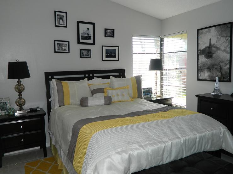Yellow and gray bedroom with black furniture - Adorable iconic furniture design adapts black and white color ...