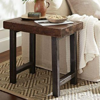 Tables - Griffin Side Table | Pottery Barn - wrought iron and wood side table, wrought iron based wood topped side table, iron and wood side table,