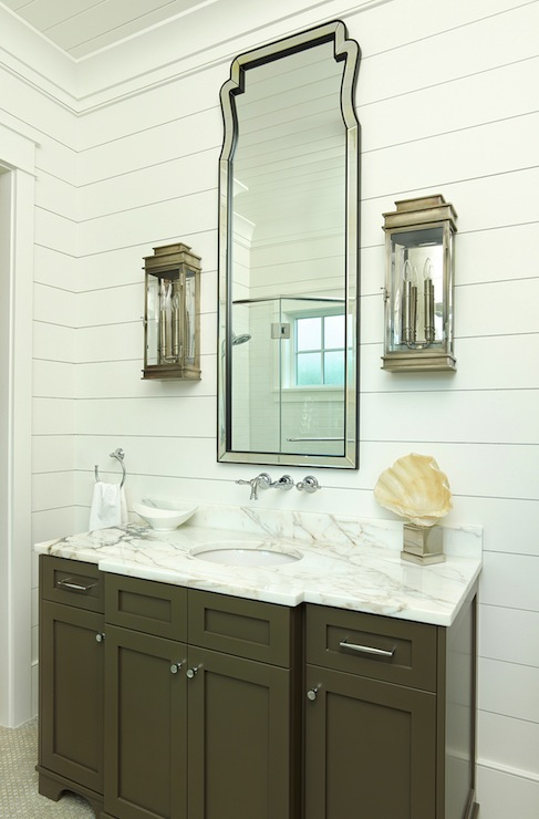 Structures Building Company - bathrooms - white shiplap, shiplap paneling, shiplap paneled walls, white shiplap paneled walls, shiplap siding, white shiplap siding, wood paneled walls, white wood paneled walls, wood paneled ceiling, white wood paneled ceiling, dark khaki colored vanity, khaki colored bathroom vanity, khaki bathroom vanity, undermount sink, shells, seashells, marble counter, marble countertop, polished nickel hardware, modern polished nickel hardware, wall mount faucet, wall mounted faucet, mirror framed mirror, mirror framed vanity mirror, lantern wall sconce, lantern style wall sconce, marble mosaic floor tile, marble mosaic tiled floors, towel loop, mirror backed lantern sconce, taupe washstand, taupe vanity, taupe bathroom vanity, taupe cabinets, taupe bathroom cabinets, caclutta gold marble, calcutta gold marble countertop,