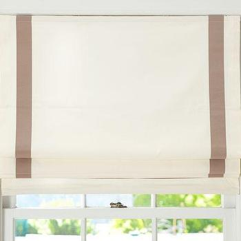 Window Treatments - Grosgrain Ribbon Cordless Roman Shade | Pottery Barn - white roman shade with grosgrain ribbon trim, ivory roman shade with taupe grosgrain trim,