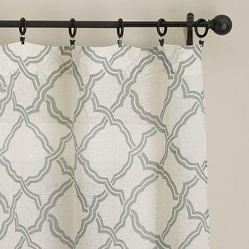 Window Treatments - Kendra Trellis Sheer Drape | Pottery Barn - gray and white trellis drapes, gray and white trellis curtains, gray and white geometric drapes, gray and white geometric curtains,