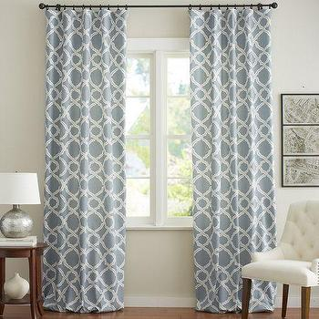 Window Treatments - Kendra Trellis Drape | Pottery Barn - blue and white geometric curtains, blue and white geometric drapes, blue and white trellis drapes, blue and white trellis curtains,