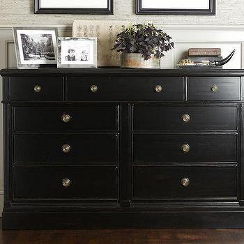 Storage Furniture - Branford Extra-Wide Dresser | Pottery Barn - black dresser, traditional black dresser, traditional black dresser with antique brass pulls,