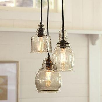 lighting paxton glass 3 light pendant pottery barn mouth blown. Black Bedroom Furniture Sets. Home Design Ideas