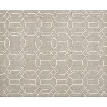 Rugs - Reed Rug - Stone | Pottery Barn - gray geometric rug, gray and white geometric rug, contemporary gray and ivory rug,
