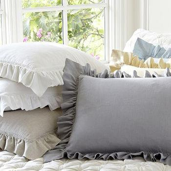 Bedding - Linen Ruffle Shams | Pottery Barn - linen ruffle shams, ruffled linen shams, ruffled linen pillow case,
