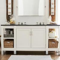 Storage Furniture - Napa Double Sink Console with Limestone | Pottery Barn - white sink console, white sink vanity, white sink console with limestone top, white sink vanity with limestone top,