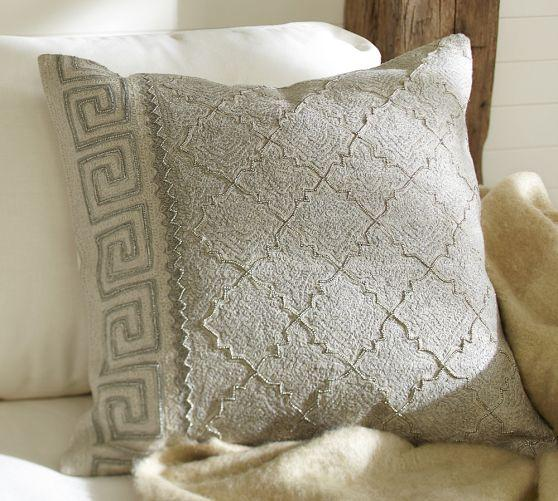 Pottery Barn Decorative Pillow Covers : Monague Crewel Embroidered Pillow Cover - Pottery Barn