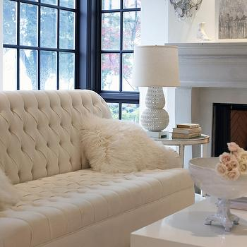 Ivory Tufted Sofa, Contemporary, living room, The Cross Decor & Design