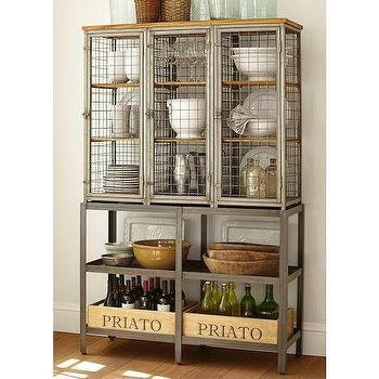 Storage Furniture - Gridley Caged Storage Cabinet | Pottery Barn - industrial style caged storage cabinet, industrial style storage, caged locker style storage cabinet,