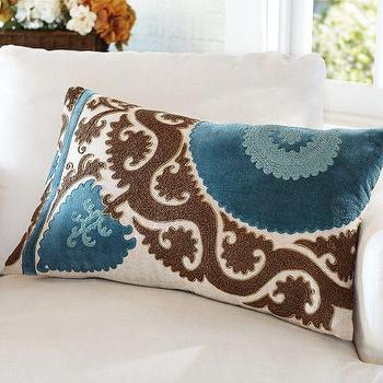 Pillows - Ellie Suzani Applique Embroidered Lumbar Pillow Cover | Pottery Barn - brown and blue suzani pillow, teal and brown suzani pillow, teal and brown embroidered pillow,