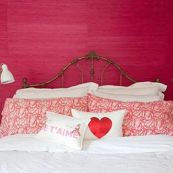 The Cross Decor & Design - bedrooms - hot pink grasscloth, grasscloth wallpaper, pink grasscloth wallpaper, hot pink wallpaper, vintage brass headboard, vintage headboard, white bedding, white bed linens, white sheets, white duvet, hot pink and white paisley pillow, je t'aime pillow, sequined red heart pillow, sequined heart pillow, vintage nightstand, wooden nightstand, matching nightstands, adjustable white desk lamp, white desk lamp, hot pink bedroom, pink bedroom,