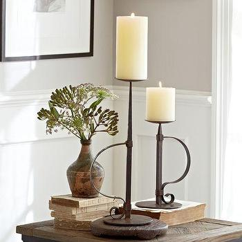 Decor/Accessories - Watchman Pillar Candle Holders | Pottery Barn - iron candle holder, iron pillar candle holder, cast iron candle holder,
