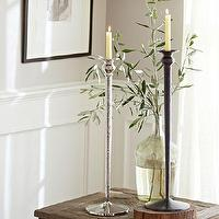Decor/Accessories - Waverly Taper Candle Holders | Pottery Barn - nickel taper candle holder, bronze taper candle holder, taper candlestick holder,