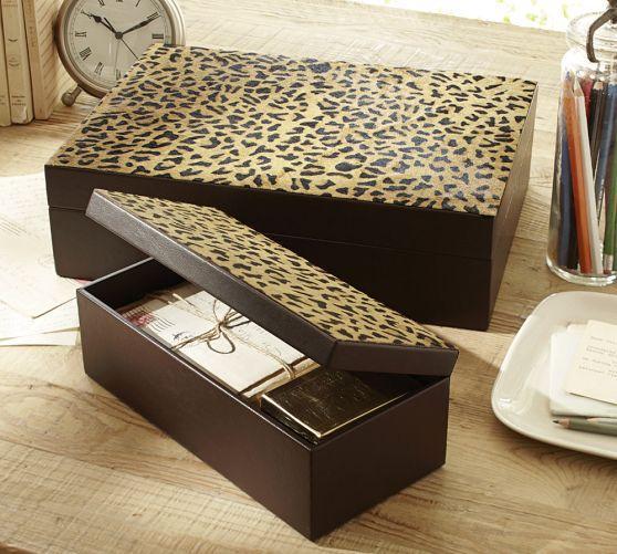 Decorative Boxes Pottery Barn : Leopard storage boxes pottery barn