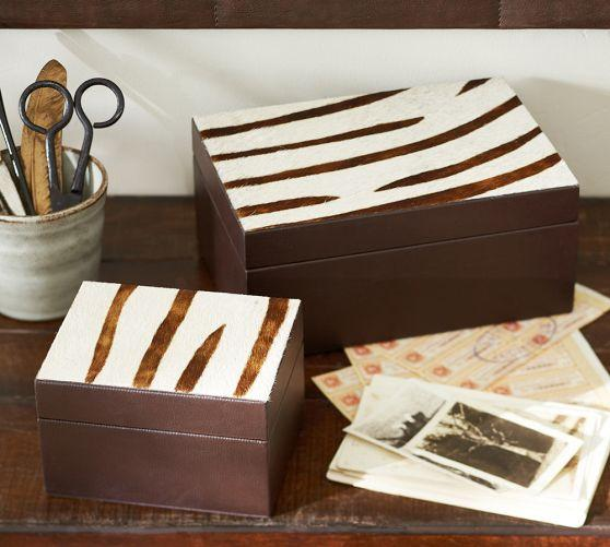 Decorative Boxes Pottery Barn : Zebra storage boxes pottery barn
