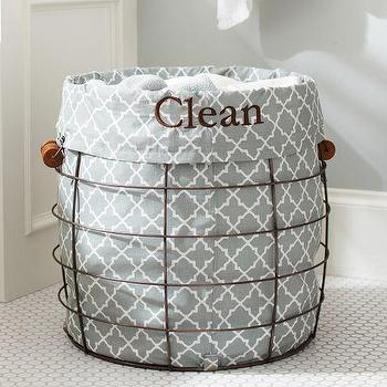 Decor/Accessories - Utility Wire Hamper & Liner | Pottery Barn - wire hamper, wire laundry hamper, blue and white geometric laundry hamper,