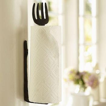 Decor/Accessories - Cucina Wall-Mount Paper Towel Holder | Pottery Barn - wall-mount iron paper towel holder, fork paper towel holder, vintage fork paper towel holder,