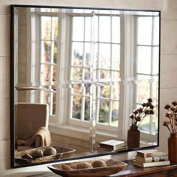Mirrors - Brinkley Mirror | Pottery Barn - beveled square mirror, sectioned beveled mirror, square shaped beveled mirror,