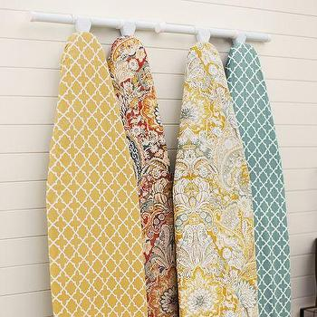 Decor/Accessories - PB Ironing Board Covers | Pottery Barn - yellow and white geometric ironing board cover, blue and white geometric ironing board cover, floral ironing board cover, yellow gray and white ironing board cover,