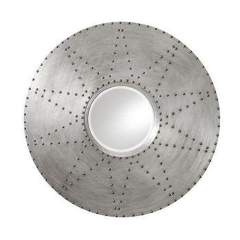 Mirrors - Olmedo Nailhead Mirror | Pottery Barn - round mirror with aluminium frame, round mirror with nail-head trim, aluminium mirror with nail-head trim,