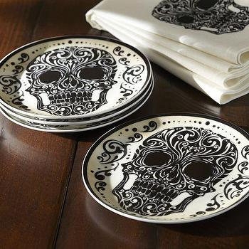 Miscellaneous - Day of the Dead Salad Plate, Set of 4 | Pottery Barn - day of the dead dishware, day of the dead halloween decor, day of the dead serveware,