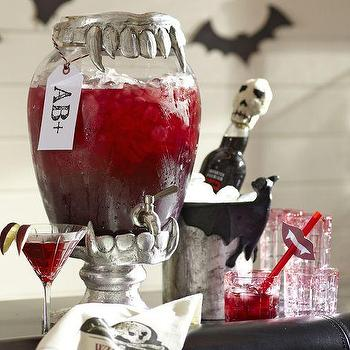 Miscellaneous - Vampire Teeth Drink Dispenser Stand | Pottery Barn - halloween themed drink dispenser, vampire themed serveware. vampire themed tableware,