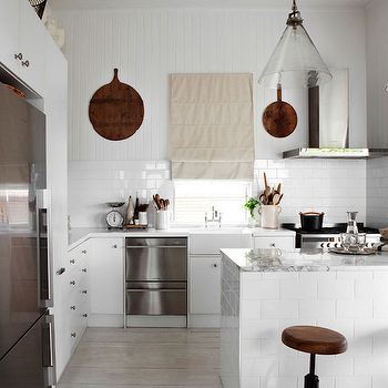 Kara Rosenlund - kitchens - white kitchen, white kitchen ideas, cottage kitchen, cottage kitchen ideas, white cottage kitchen, beadboard backsplash, kitchen beadboard backsplash, beadboard kitchen backsplash, subway tiles, subway tile backsplash, two tone backsplash, two tone kitchen backsplash, double dishwashers, stacked dishwashers, stainless steel stacked dishwashers, cone shaped pendant, glass cone pendants, clear glass cone pendant, tiled kitchen island, tiled island, subway tiled island, subway tiled kitchen island, white marble top, white marble countertop, wood top bar stools, wood topped bar stools, industrial bar stools, industrial counter stools, whitewashed floors, whitewashed wood floors, whitewashed plank floor,