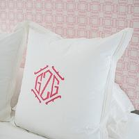 Collins Interiors - girl's rooms - white and pink girls room, white and pink girls bedroom, white and pink headboard, geometric headboard, monogrammed shams, white and pink shams,