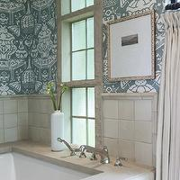 Collins Interiors - bathrooms - david hicks wallpaper, hicks the vase wallpaper, david hicks the vase wallpaper, bathroom wallpaper, master bathroom wallpaper, glazed tiles, drop in tub, bathroom curtains, bathroom drapes, pinch pleat curtains, pinch pleat drapes, The Vase Wallpaper,
