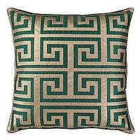 "Pillows - Mykonos Pillow 24"" Pillow I ZGallerie - greek key pillow, emerald greek key pillow, emerald leather greek key pillow,"