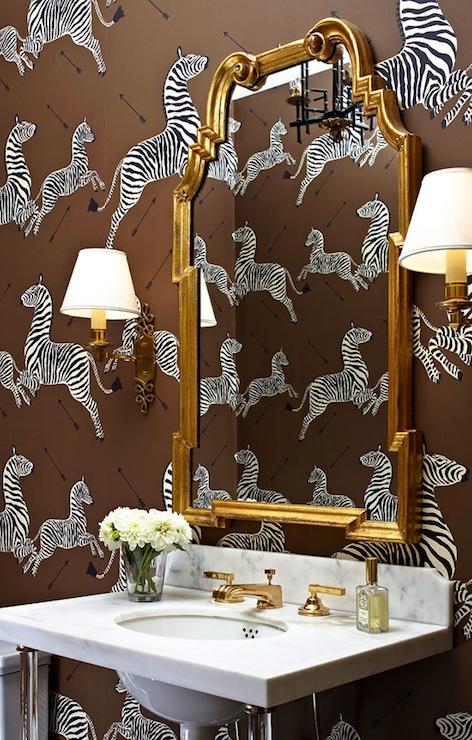 zebra wallpaper contemporary bathroom massucco