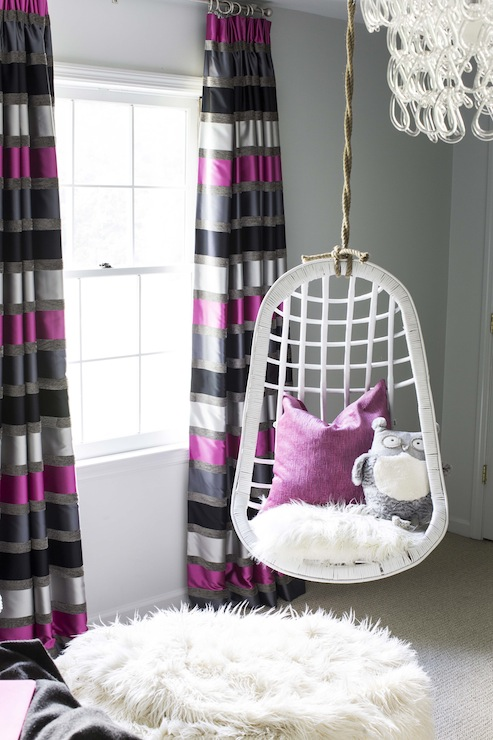 Striped Curtains Contemporary girl s room B Metro