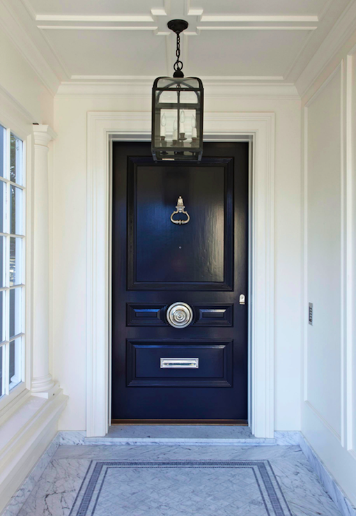 Glossy Black Door Transitional Home Exterior