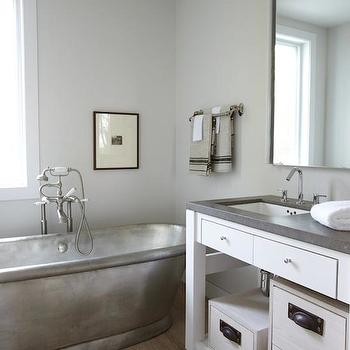 Heiberg Cummings Design - bathrooms - silver tub, silver bathtub, freestanding tub, freestanding bathtub, wide plank floor, wide plank wood floors, white vanity with shelving, vanity with shelving, white vanity with gray countertop,
