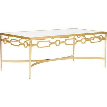 Tables - World's Away - Grace Coffee Table, Gold I High Fashion Home - gold coffee table with marble top, marble topped gold leafed coffee table, gold based marble top coffee table,