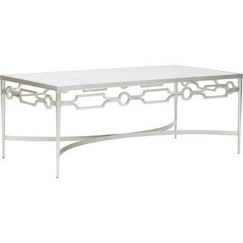 Tables - World's Away - Grace Coffee Table, Silver I High Fashion Home - silver leafed coffee table, silver leaf marble topped coffee table, marble topped coffee table with silver leafed base,