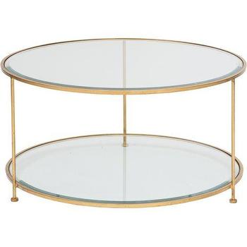 "Tables - World's Away - Rollo Round 36"" Round Coffee Table I High Fashion Home - round gold and glass coffee table, round gold and glass cocktail table, 2-tiered gold leaf glass coffee table,"